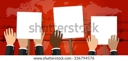 crowd people holding protest sign white placard vector illustration of strike activism protesters anger revolt - stock vector