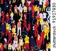 Crowd Seamless Pattern - stock photo