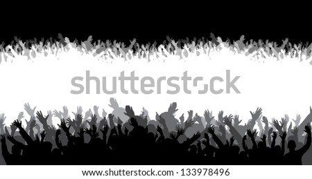 Crowd silhouette - stock vector