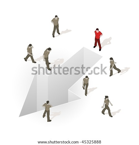 Crowd Source - Your Direction. People walking around an arrow. - stock vector