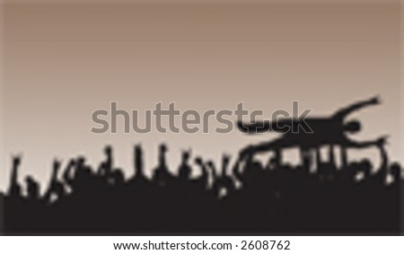 Crowd Surfing Silhouette Vector rockin' out with slayers. - stock vector