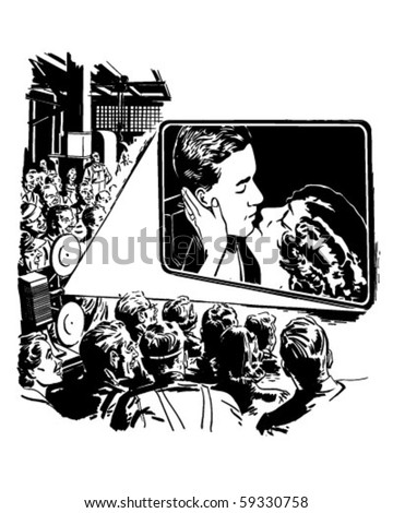 Crowd Watching A Movie - Retro Clip Art - stock vector