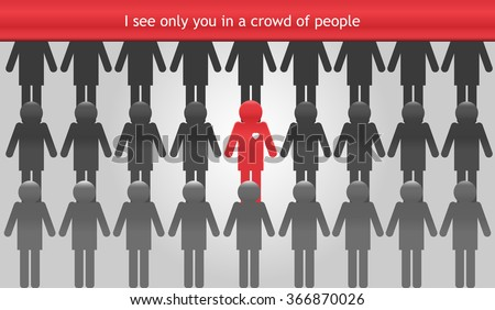 Crowd with many persons.Group of people. Vector Illustration - stock vector