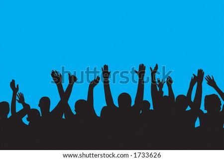 crowd with raised hands - stock vector