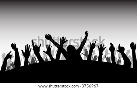 Crowd with raised hands (vector)