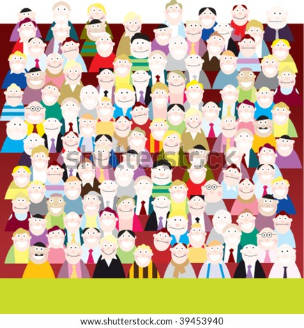 crowded viewer - stock vector