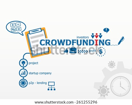 Crowdfunding conceptand notebook for efficiency, creativity, intelligence. Hand writing Crowdfunding with blue marker - stock vector
