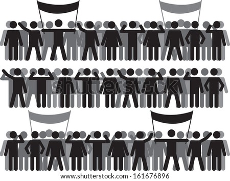 Crowds and protestant people set illustrated on white - stock vector