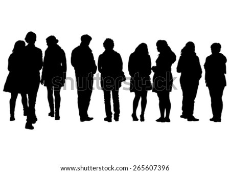 Crowds of young guy and girl on white background - stock vector