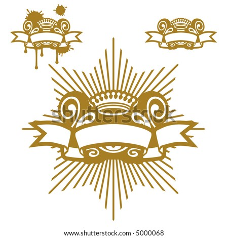Crown And Scroll - stock vector