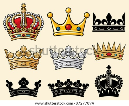 crown collection (set of crowns) - stock vector