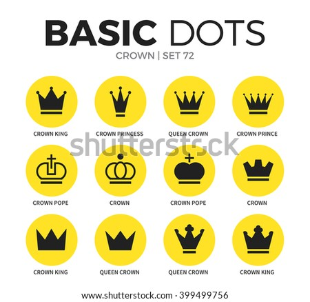 Crown flat icons set with crown king, princess and queen crown isolated vector illustration - stock vector