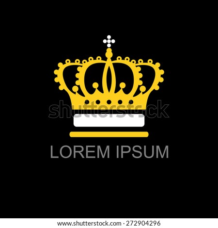 Crown gold on black background logo vector illustration for your design - stock vector