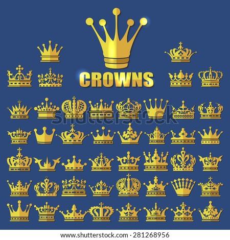 Crown icon, Crown icon set, Crown icon gold, Crown icon flat, Crown icon vector, Crown icon app, Crown icon web, Crown icon collection, Crown icon king,  Crown icon eps, Crown icon AI, Crown icon - stock vector