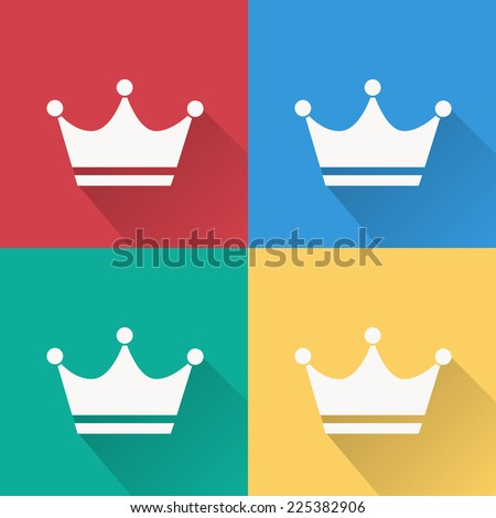 crown icon , flat design on 4 color background - stock vector