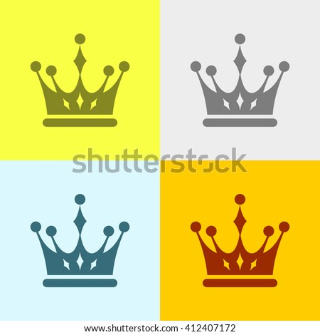 Crown Icon on Four Different Backgrounds. Eps-10.