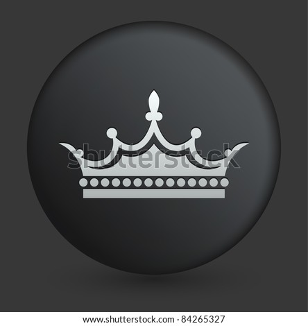 Crown Icon on Round Black Button Collection Original Illustration - stock vector