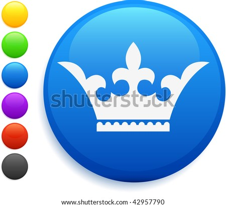crown icon on round internet button original vector illustration 6 color versions included - stock vector