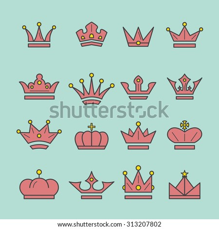 Crown icon set, line style, vector, illustration