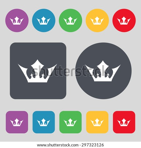 Crown icon sign. A set of 12 colored buttons. Flat design. Vector illustration - stock vector