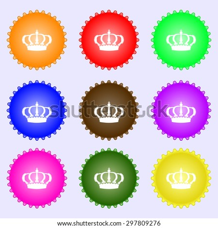 Crown icon sign. A set of nine different colored labels. Vector illustration - stock vector
