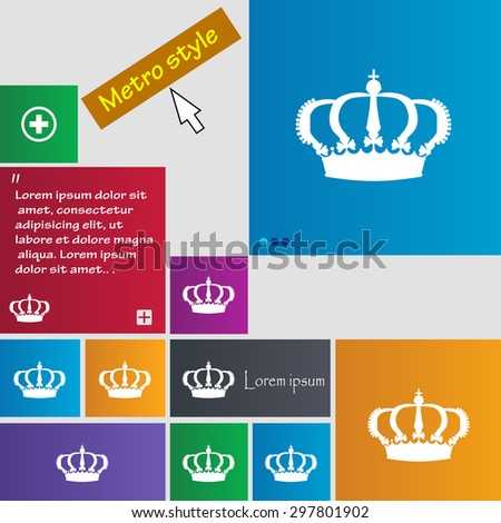 Crown icon sign. buttons. Modern interface website buttons with cursor pointer. Vector illustration - stock vector