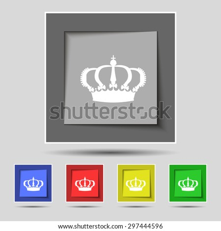 Crown icon sign on original five colored buttons. Vector illustration - stock vector