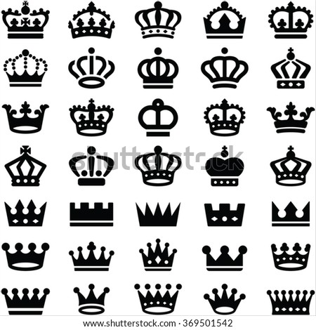 Crown icons collection - vector silhouette