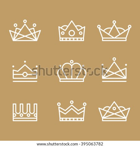 Crown icons modern design lines of different forms