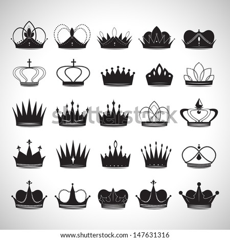 Crown Icons Set - Isolated On Gray Background - Vector Illustration, Graphic Design Editable For Your Design - stock vector