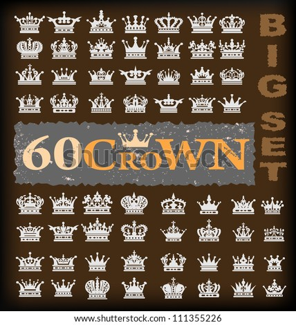 crown icons, stylish vector icons for design - stock vector