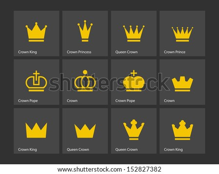 Crown icons. Vector illustration. - stock vector