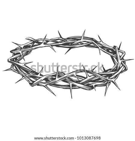 Crown Of Thorns Easter Religious Symbol Christianity Hand Drawn Vector Illustration Sketch Logo