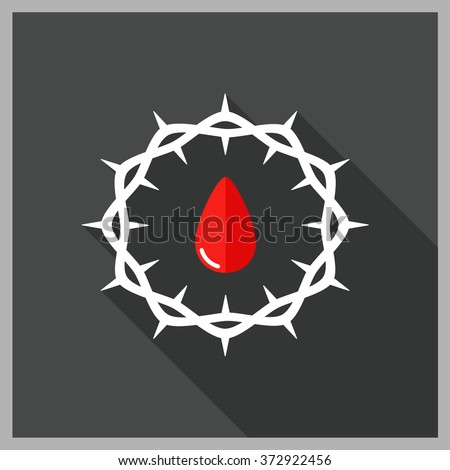 Crown of thorns. Good Friday. Blood of Christ. Vector flat illustration. - stock vector
