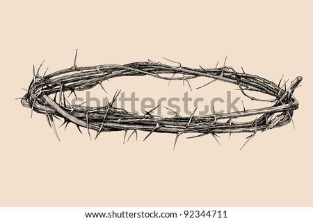 crown of thorns vintage illustration - stock vector