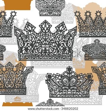 Crown seamless. From the hand-drawn image of a symbolic element of the head of royalty. - stock vector
