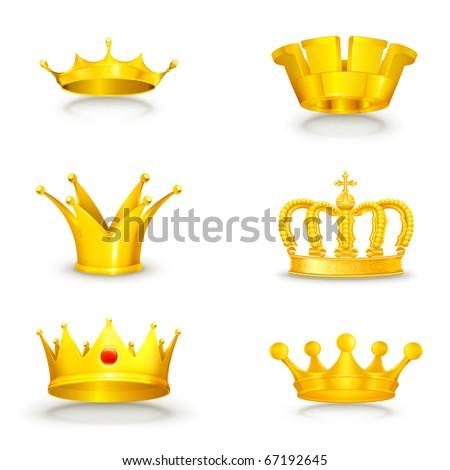 Crown set on white, eps10 - stock vector