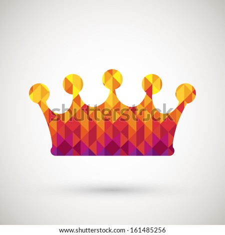 crown symbol with colorful diamond, vector illustration. - stock vector