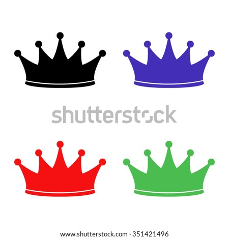 crown vector icon - colored set