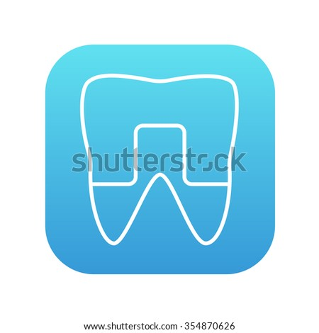 Crowned tooth line icon for web, mobile and infographics. Vector white icon on the blue gradient square with rounded corners isolated on white background. - stock vector