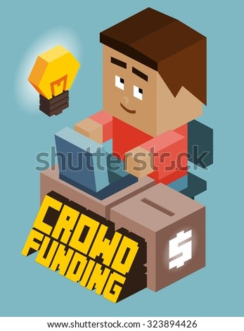 Crownfunding game developer. Isometric vector illustration - stock vector