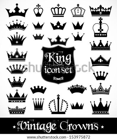 Crowns vintage set. - stock vector