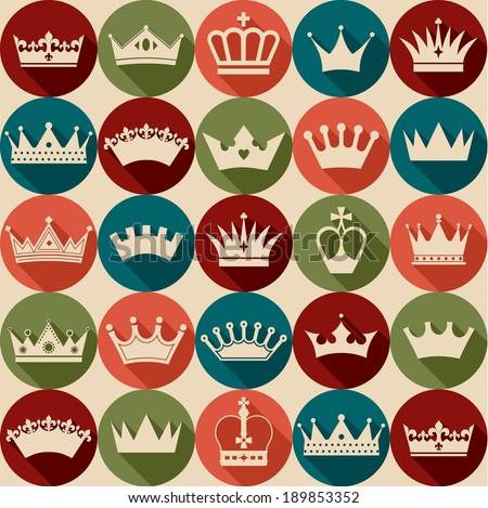 Crowns vintage set. Seamless pattern. - stock vector