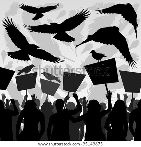 Crows flying over protesters crowd landscape background illustration vector - stock vector