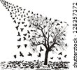 Crows on a tree in winter - stock vector
