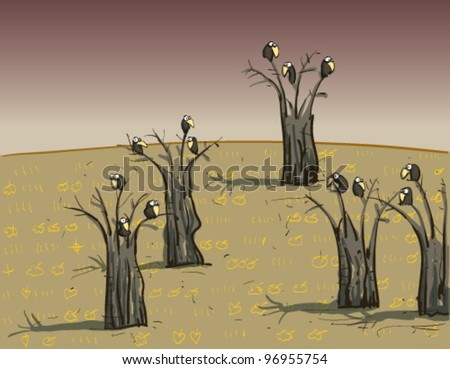 Crows on Trees : on Dark Background - stock vector