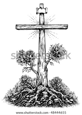 Crucifix Surrealism Illustration Black & White - stock vector