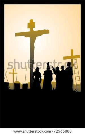 crucifixion of Jesus Christ - stock vector