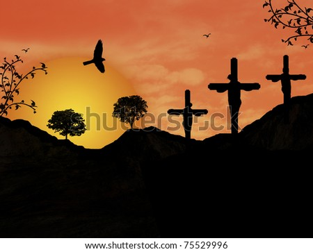 Crucifixion of Jesus Christ during sunset, vector illustration - stock vector