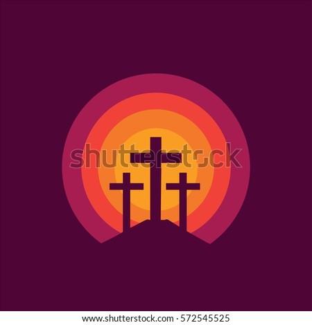 crucifixion jesus christ three crosses sunset stock vector royalty